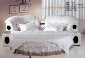 China Manufacturer Top-Grade Knitted Fabric Elegant Round Bed 9918 pictures & photos
