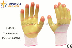 Tip Thick Shell PVC 3/4 Coated Safety Work Glove (P4203) pictures & photos