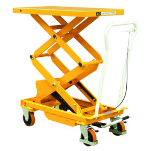 Mobile Manual Hydraulic Scissor Lift Table Truck pictures & photos