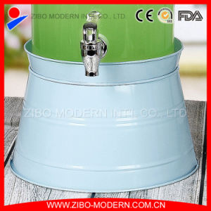 Fashion Customized Glass Juice Dispenser with Ice Bucket Zibo pictures & photos