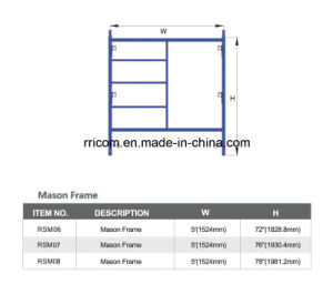 Powder Coated W-Style Mason Scaffolding Frame pictures & photos