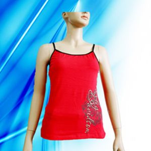 Cotton and Spandex Lady′s Sexy Camisole with Discharge Print pictures & photos