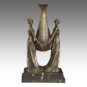 Vase Decoration Statue Ladies Carving Bronze Sculpture TPE-528