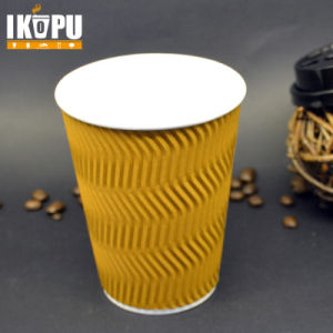 Disposable Customized Hot Ripple Paper Cup with Lid High Quality pictures & photos
