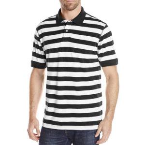 Wholesale Men Casual Polo Shirts Cotton Stripe Pique Polo Shirts pictures & photos