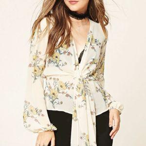 Ladies Fashion Chiffon Floral Print Back Split Bandage Blouse pictures & photos