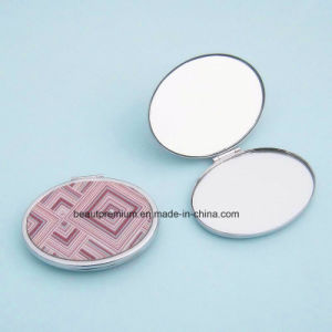 Metal Oval Double Side Makeup Mirror with Geometric Pattern Printing BPS0213
