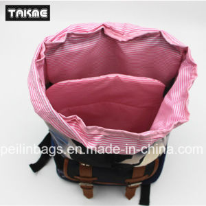 Trendy Canvas and Leather Priniting Laptop Bag, Backpack for School, Travel, Leisure pictures & photos