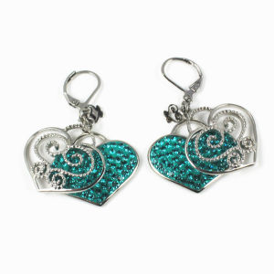 2016 New Products Fashion Ladies Crystal Heart Bow Tie Stud Earrings pictures & photos