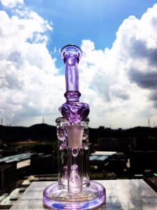 Hbking Purple Color Bent Neck Honeycomb Perc Glass Water Pipes Smoking Water Pipe pictures & photos