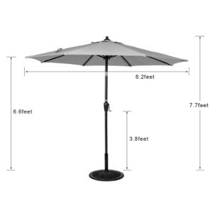 Outdoor 8.2 FT Olefin Fabric Solution Dyed and UV Resistant Patio Garden Outdoor Market Umbrella with Auto Tilt and Crank, Earth Yellow pictures & photos