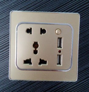 British Standard Universal Socket Five-Pinned with Dual USB