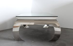 Modern Glam Shiny Stainless Steel Glass Top Coffee Table, Luxury Coffee Table pictures & photos