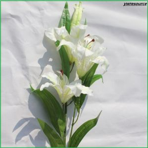 Silk Fake White Lily Artificial Flowers for Home Wedding Decoration Wholesalers pictures & photos