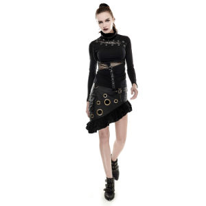 Newest Design Punk Rave T-432 Black Steampunk Mask Style Skinny Hollow out Hight Coallor Woman T-Shirt pictures & photos