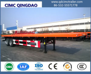 Cimc Flat Bed Semitrailer with Bogie Suspention Truck Chassis pictures & photos