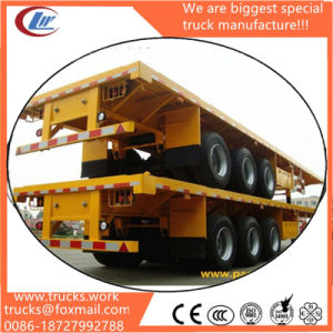 Hot Sale 3 Axle Flatbed 40FT Container Truck Trailers pictures & photos