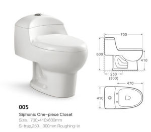 Bathroom Ceramic Sanitary Ware One-Piece Toilet (005) pictures & photos