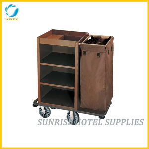 Powder Coating Finish Housekeeping Cart Service Trolley for Hotel pictures & photos