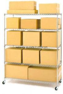 Commercial 5 Shelf Chrome Steel Wire Shelving System with Casters pictures & photos