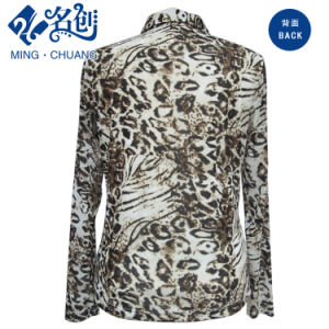 Mixed-Colour Patterns Turn-Down Collar Loose Long-Sleeve Fashion Blouse pictures & photos
