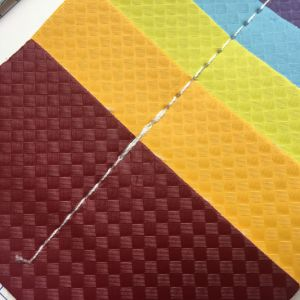 Straw Mat Design PU Leather for Making Shoes Sandals Heels pictures & photos