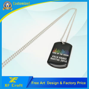 Promotion Wholesale Fashion Custom Stainless Steel Metal Military Name/Pet/ID/Dog Tag with Print Logo and Necklace (XF-DT06) pictures & photos