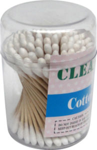 100 PCS Wooden Q-Tips 100% Pure Cotton Stick Swabs Buds