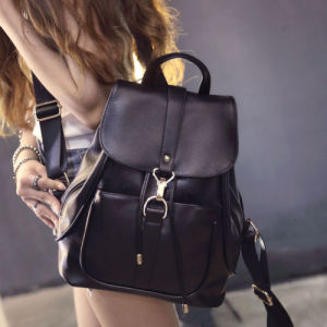 Bw273 2016 Popular Black Genuine Leather Lady Backpack Bag pictures & photos