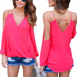 Fashion Women Leisure Casual V-Neck off Shoulder Clothes Blouse pictures & photos
