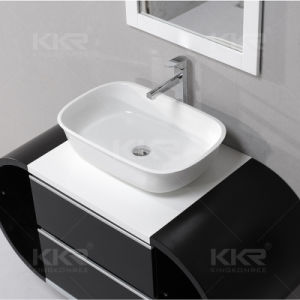 Solid Surface Wall Hung Bathroom Corner Sink for Hotel pictures & photos