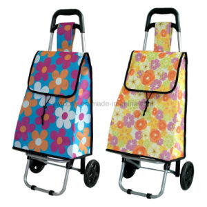Foldable 2 Wheel Large Volume 600d Polyester Steel Shopping Trolley pictures & photos
