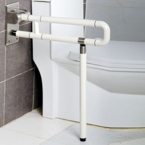 Handle Bar for Disabled/ Toilet Security Nylon Coating & Inner Stainless Steel Grab Bar, Fold-up Grab Rail