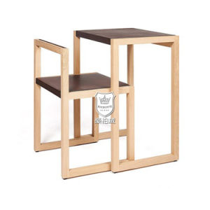 Space-Saving Ash Solid Wood Writing Desk and Chair for Dorm pictures & photos
