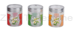 Glass Storage Jar With Printing (TM008D) pictures & photos