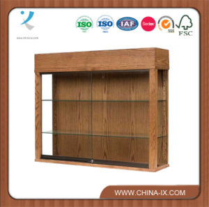 Wood Wall Mounted Display Case with Lights pictures & photos