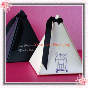 Metallic White/Black Pyramid Wedding Favor Boxes (JCO-392)