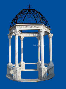 White Marble Gazebo With Iron Top (5670) pictures & photos