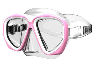 Lady Attractive Tempered Glass Pink Diving Mask (MK-206) pictures & photos