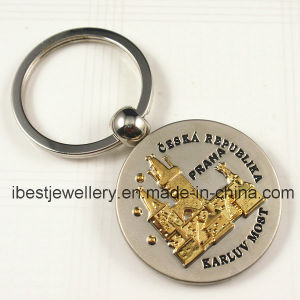 Souvenirs for Czech - Two Color Plating Embossed Czech Logo Metal Keyrings pictures & photos