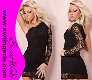 Wholesale Catch Fashion One Sleeve with Lace Sexy Clubwear Party Lingerie Dress 5411-Black