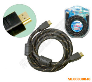Suoer 2m Double Loop HDMI to HDMI AV Cable with Golden Connector (AV-HD02-2M-Gold-Braided-Double Loop) pictures & photos