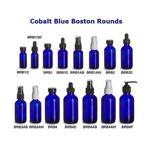 . 5oz. 1oz. 2oz. 4oz. Cobalt Blue Essential Oil Glass Bottle with Glass Dropper