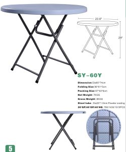 2016 New 60cm Small Round Folding Table for Dining (SY-60Y) pictures & photos