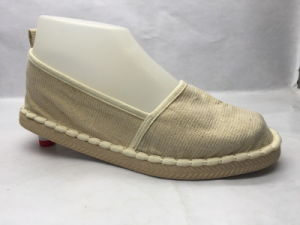 Lady Esparto Shoes PU Shoes Canvas Leisure Shoes with Flax Sole (23LG1711) pictures & photos