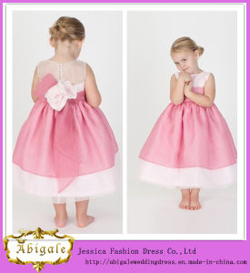 Cute New Ball Gown Tulle Organza Pink Bow Scoop Sleeveless Flower Girl Dress Yj0139