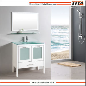 China honed white bathroom vanity cabinet with frosted - Bathroom vanity with frosted glass doors ...