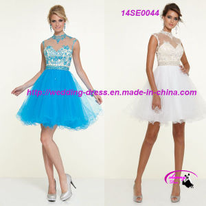 High Neck Short Blue Dress Gown Sleeveless pictures & photos