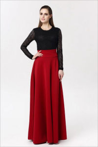 Victoria A-Line Long Silk Space Cotton Skirt with Pleated for Women pictures & photos