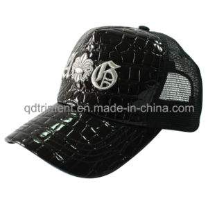 Fashion Shinning Fake Leather Mesh Leisure Trucker Hat (TMT1914) pictures & photos